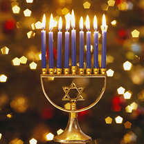 Number 8 in Judaism Menorah